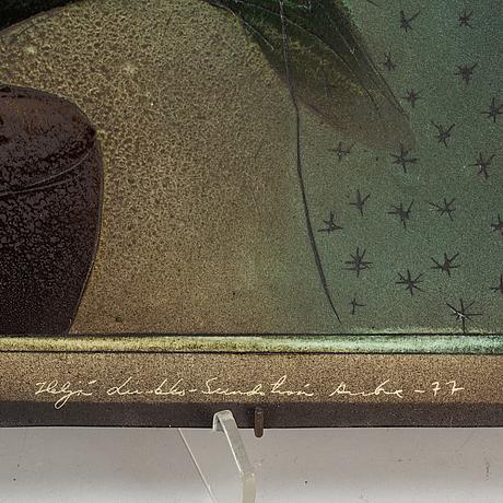 HeljÄ liukko-sundstrÖm, a porcelain plaque, arabia, finland 1977.