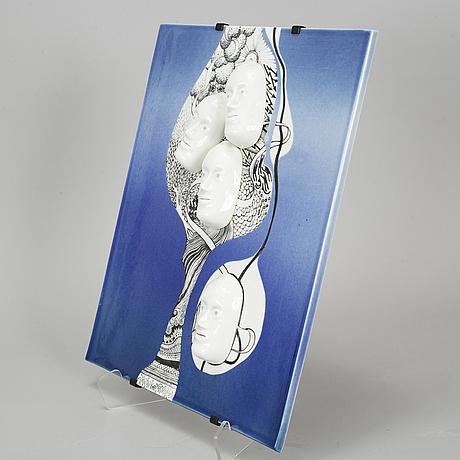 Jackie lynd, a porcelain plaque, rörstrand, sweden.