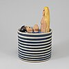 Lisa larson, a stoneware jar with cover, k-studion, gustavsberg, signed and dated -96.