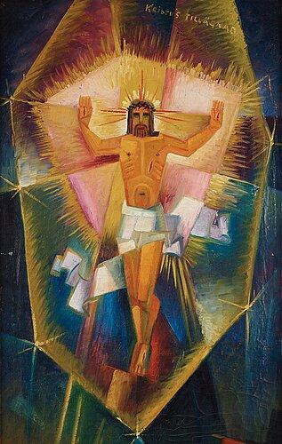 """Gösta adrian-nilsson, """"christ revealed above the eiffel tower"""" (kristus uppenbarar sig över eiffeltornet (kristus tillägnad))."""