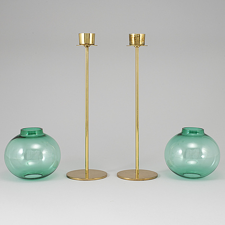 Hans-agne jakobsson, a pair of brass and glass candle holders, markaryd.