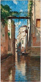 388. Wilhelm von Gegerfelt, Venetian canal scene.