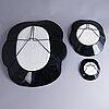 Birger kaipiainen, a set of three wall plates, 'viola'. arabia, finland, 1963.