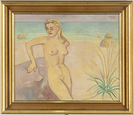 Einar jolin, oil on panel, signed and dated 1957.
