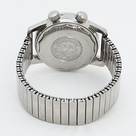 Enicar, sherpa, super divette wristwatch, chronograph, 36 mm.