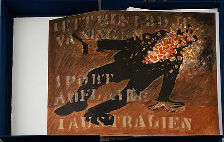 "GÖsta werner, ""visor av evert taube"", kassetter, 2 st, med 62 signerade färglitografier, galerie aix, stockholm, 1989."