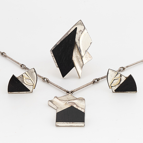 Lapponia, design zoltan popovic necklace, earrings and ring 1983.