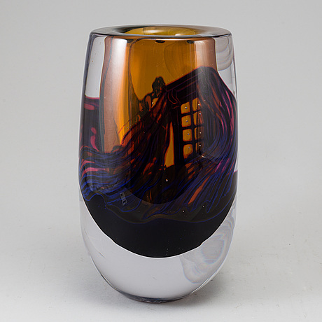 Jim johnsson, glas vase, signed, unique.