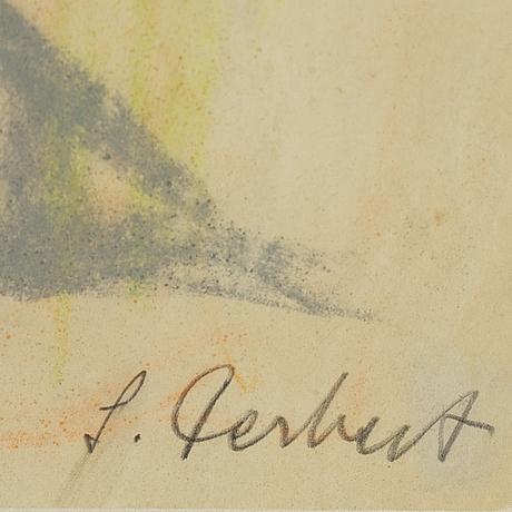 Siri derkert, crayon on paper, signed.
