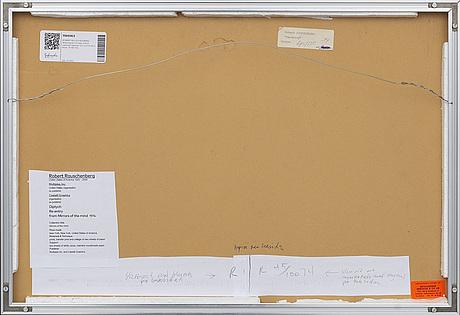 Robert rauschenberg, färglitografi/kollage diptyk signerad daterad och numrerad a tergo 74 45/100.