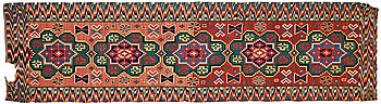 295. A BENCH CUSHION probably, A FRAGMENT, double-interlocked tapestry, ca 58,5-59,5 x 220-223 cm, Scania (Sweden).