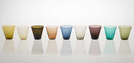 18 mid-20th-century 'kartio' 2744 drinking glasses, by kaj franck, nuutajärvi finland.