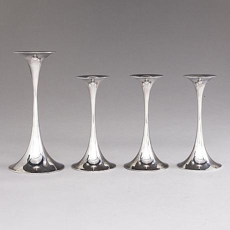 Tapio wirkkala, a set of four trumpetti silver candlesticks, marked tw, kultakeskus 1987 and 1988.
