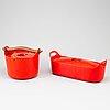 Timo sarpaneva, two cast iron pots, finland, rosenlew, 1960/70s.