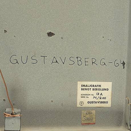 A bengt berglund enamel wall decoration. gustavsberg. signed. dated on veros -64.
