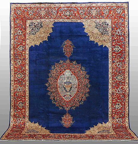A carpet, figural kashmar, ca 380 x 284 cm.