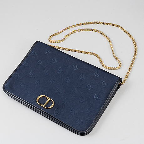 Christian dior, two blue nylon and leather bags.