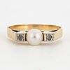 Ring, 18k gold, cultured pearl and white stones. alton, falköping 1970.