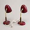 A pair of mid-20th century table lamps, stockmann, finland.