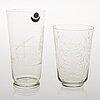 Two göran hognell glass vases, signed gh karhula.