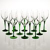 Saara hopea, a set of 20 'traviata' wine glasses model 1122, nuutajärvi, finland latter half of the 20th century.