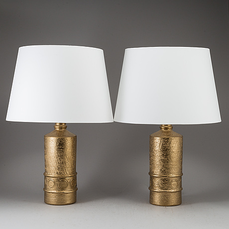 A pair of bitossi stoneware table lamps, bergboms, second half of the 20th century.