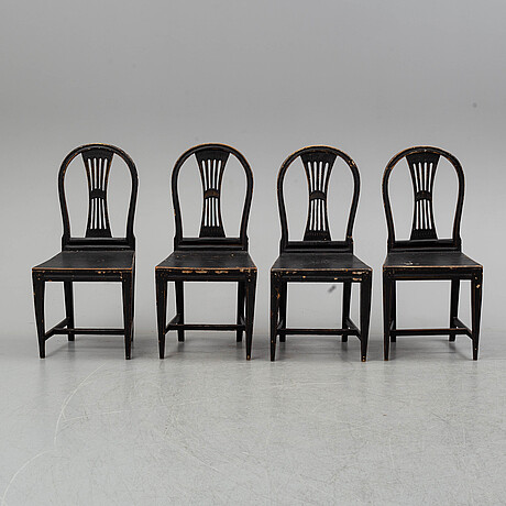 A set of four gustavian chairs, ca 1800.