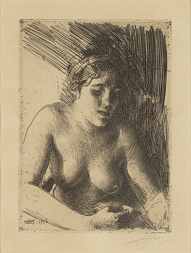 Anders zorn, etching, signed.