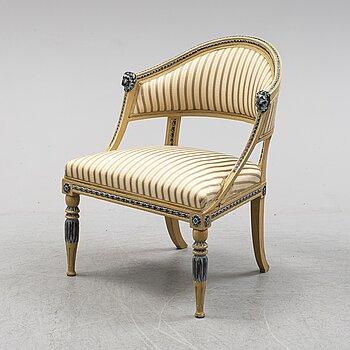 A late gustavian armchair, early 19th century.