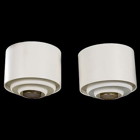Alvar aalto, a pair of 1960s 'ae-9447-2' ceiling lights for itsu finland.