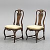 A pair of swedish rococo chairs, second half of the 18th century.