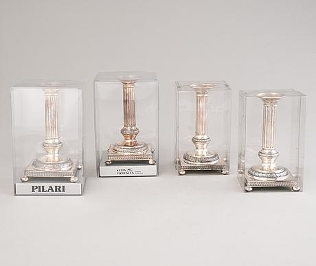 A set of four 'pilari' candlesticks, kultateollisuus oy, turku, finland 1982-86.