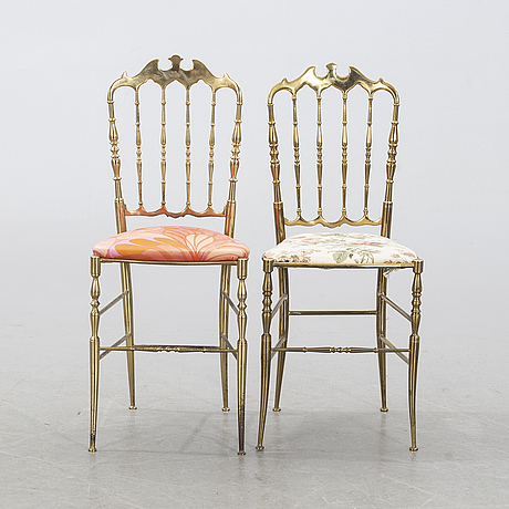 Two italian chiavari style chairs, second half of the 20th century.