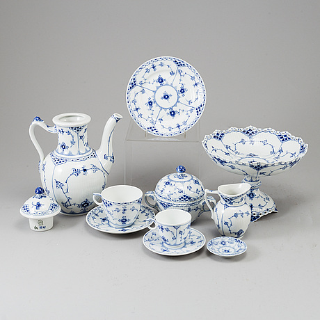 Royal copenhagen, a 39 part 'musselmalet' porcelain coffee service, denmark.