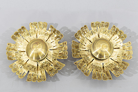 Sven aage holm-sÖrensen & pedersen, a pair of brass wall lamps,  denmark, second half of the 20th century.