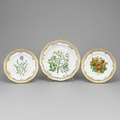 Three royal copenhagen, 'flora danica' dishes, denmark, 20th century.
