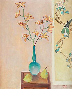 Einar Jolin, Still life with orchid. Signed Einar Jolin and dated 1966. Canvas 62 x 50 cm.