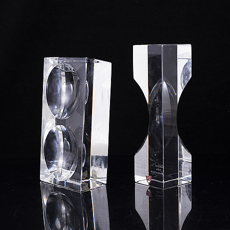 Sven palmqvist, two glass sculptures, signed, orrefors expo.