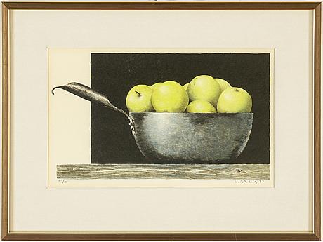 Philip von schantz, färglitografi, signerad v schantz, daterad 77 och numrerad 119/125 med blyerts.