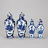 Four (2+2) blue and white vases with covers, qing dynasty, late 19th century.