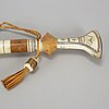 A sami birch, renideer horn and pewter walking stick.