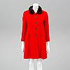 A red valentino wool coat with mink collar, italian size 42.