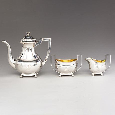 Ville (wilhelm) porthan, kaffeservis, 3 delar, silver, viborg 1919.