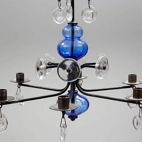 Erik hÖglund, a glass and iron chandelier. boda smide 1970s.