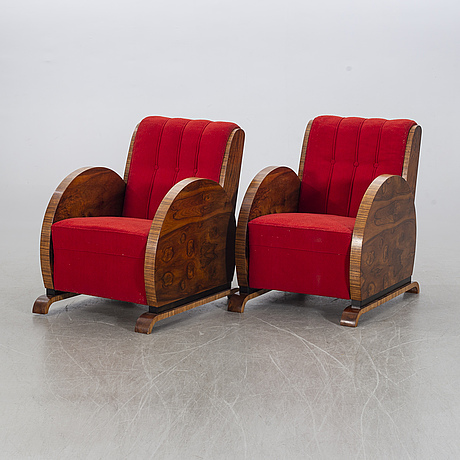 A pair of chairs, art déco-style, second half of the 20th century.