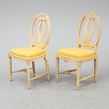 Stolar, 6+2 stycken, gustaviansk stil, 1900-talets slut.