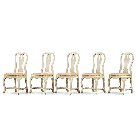Five swedish rococo 18th century chairs.