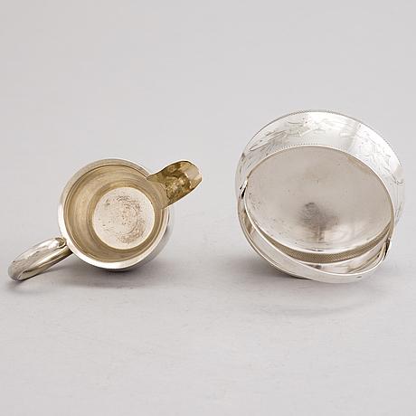 SockerskÅl och grÄddsnÄcka, silver, ivan saltykov resp. fedor gorbunov, moskva, 1882-1899.