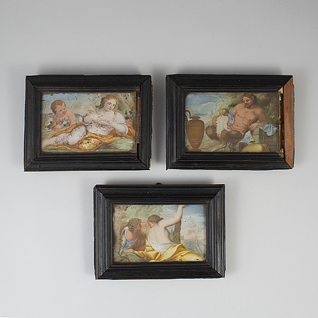 Three glass paintings, ca 1800.
