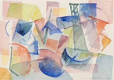 Mauri favÉn, akvarell, signerad och daterad -82.